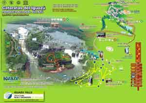 Panorámica aérea Iguazú - comparar las imágenes en 3D con el mapa del Parque Nacional de Iguazú.