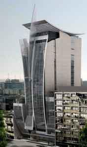 Hotel Boca Juniors: un edificio ultramoderno de diecisiete plantas diseñado por el prestigioso arquitecto montevideano Carlos Ott.