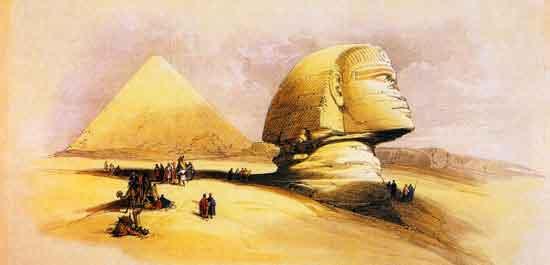 Solamente la cabeza de la Gran Esfinge sobresalía de la arena, que iba sepultando el cuerpo siglo tras siglo