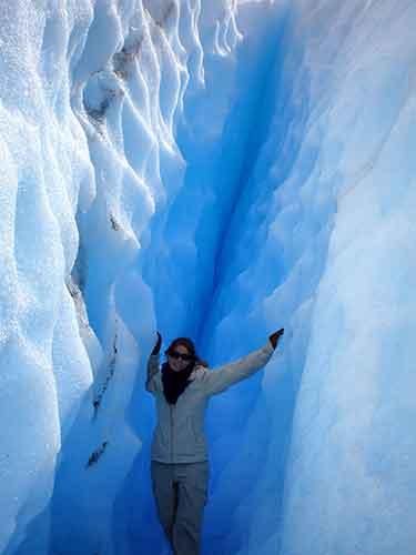 Blanca en el minitrekking Perito Moreno.