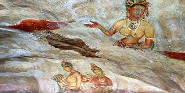 Pinturas al fresco en Sigiriya