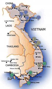 Mapa de Turismo en Vietnam