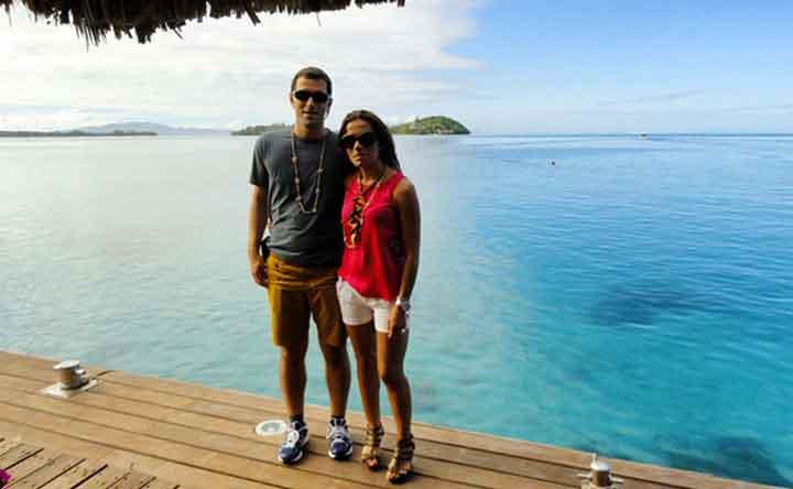Bora Bora, vista del lagoon con el motu del Sofitel Private Island al fondo - testimonio de viaje a Polinesia