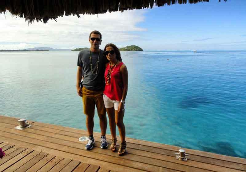 Bora Bora, vista del lagoon con el motu del Sofitel Private Island al fondo