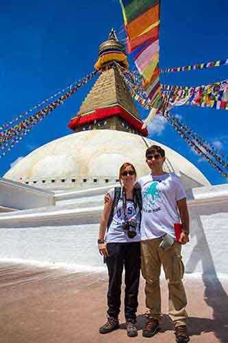 En la la estupa de Boudhanath (Katmandú)