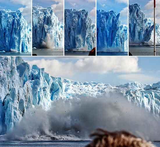 La rotura de un bloque de hielo del glaciar Upsala, captada en 6 tomas por Iván