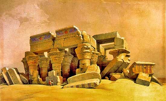 Kom Ombo (pintura: David Roberts) - Guía de crucero por el Nilo