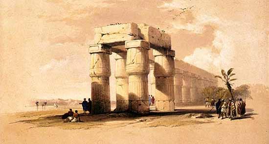 El templo de Luxor (pintura: David Roberts) - Guía de crucero por el Nilo