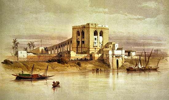 El santuario de Isis en Philae (pintura: David Roberts) - Guía de crucero por el Nilo