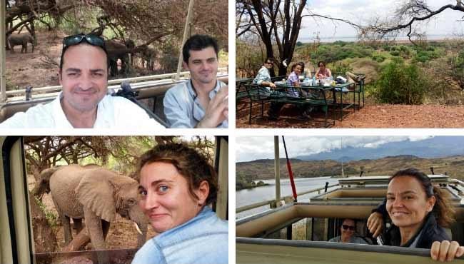 Opinión del Safari en Tanzania: otro montaje de 4 fotos de Ismael y Patri