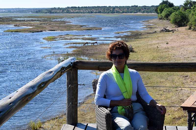 Carmen en el Chobe Game Lodge