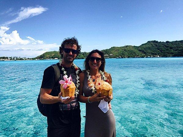 Jona y Luly en su viaje de novios a Polinesia
