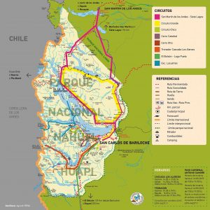 Mapa de los circuitos que se pueden hacer desde Bariloche - Qué hacer en Bariloche