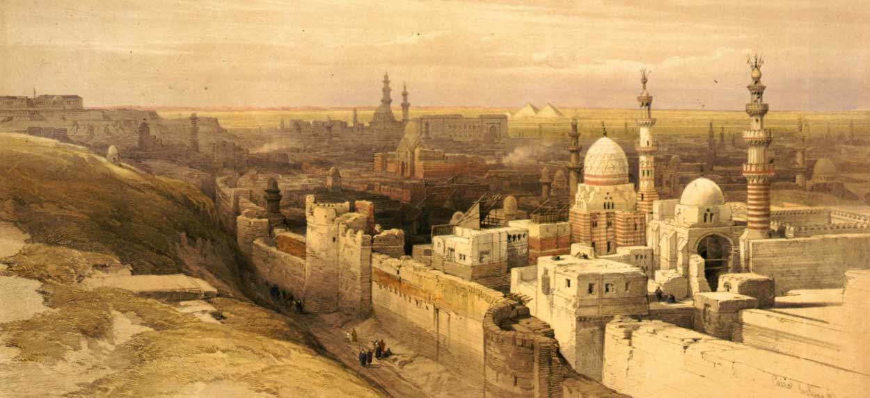La Madre del Mundo o La victoriosa, la capital del país a orillas del Nilo (dibujo: David Roberts)