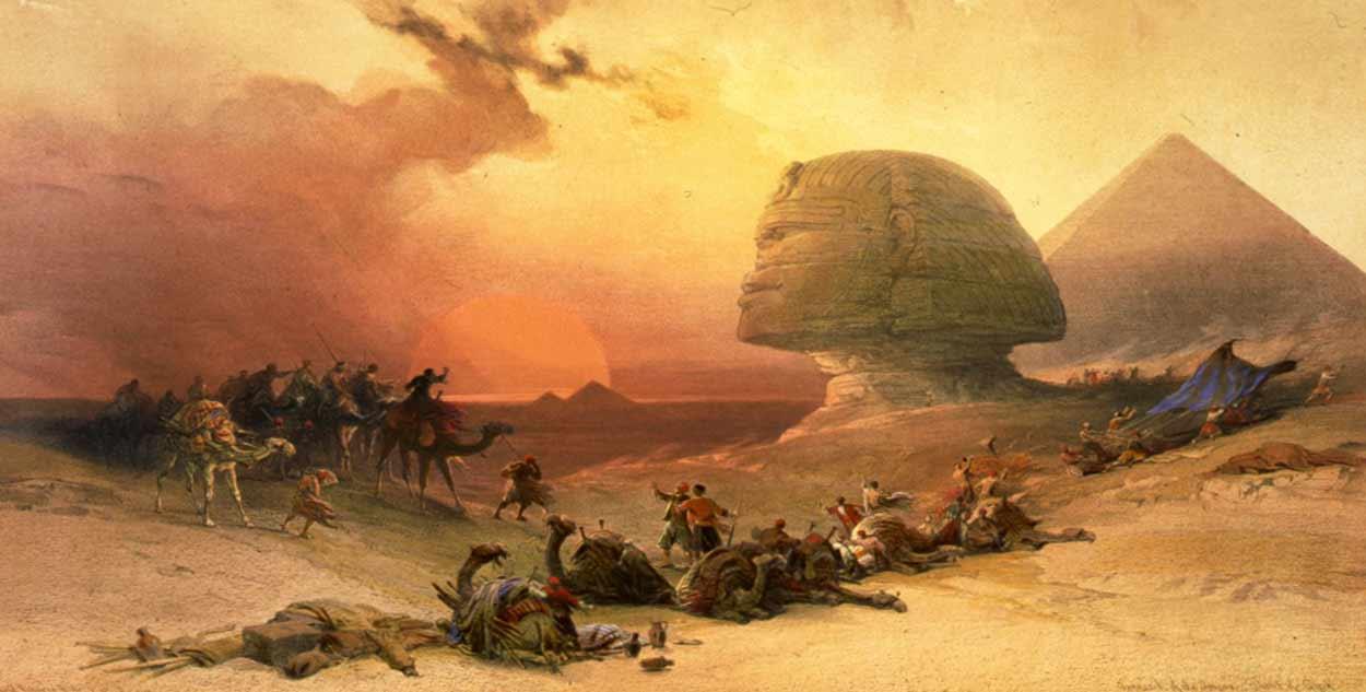 La Pirámide de Keops con la Gran Esfinge de Giza es probablemente la imagen más difundida del turismo de Egipto (dibujo: David Roberts)