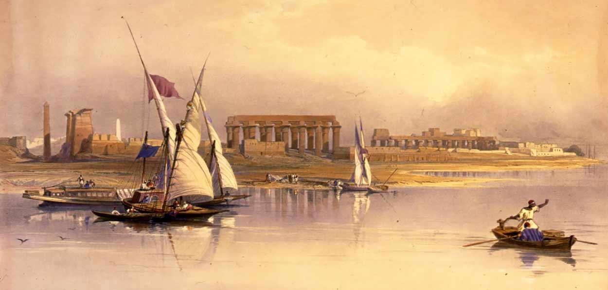 Navegar el gran río de África resulta imprescindible para aprehender la magia atemporal del turismo de Egipto (dibujo: David Roberts)