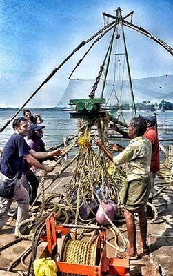 Opinión de viaje a India del sur de Carmen, Elena, Josep y Carlos: redes de pesca chinas en Cochin