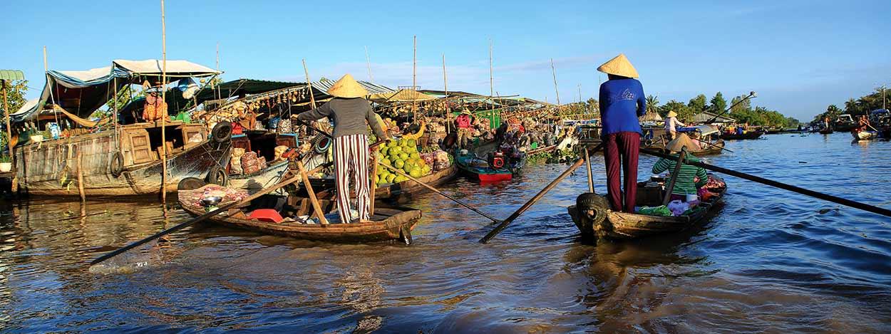 Delte del Mekong, mundo anfibio y fertilísimo de aldeas y mercados flotantes