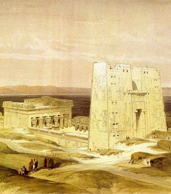 Crucero por el Nilo - Templo de Edfu (pintura: David Roberts)