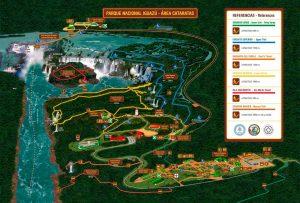 visitar las cataratas de Iguazú: qué ver y hacer - Mapa del lado argentino de las Cataratas de Iguazú (un clic para aumentar tamaño)