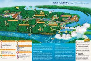 visitar las cataratas de Iguazú: qué ver y hacer - Mapa del lado brasileño de las Cataratas de Iguazú (un clic para aumentar tamaño)
