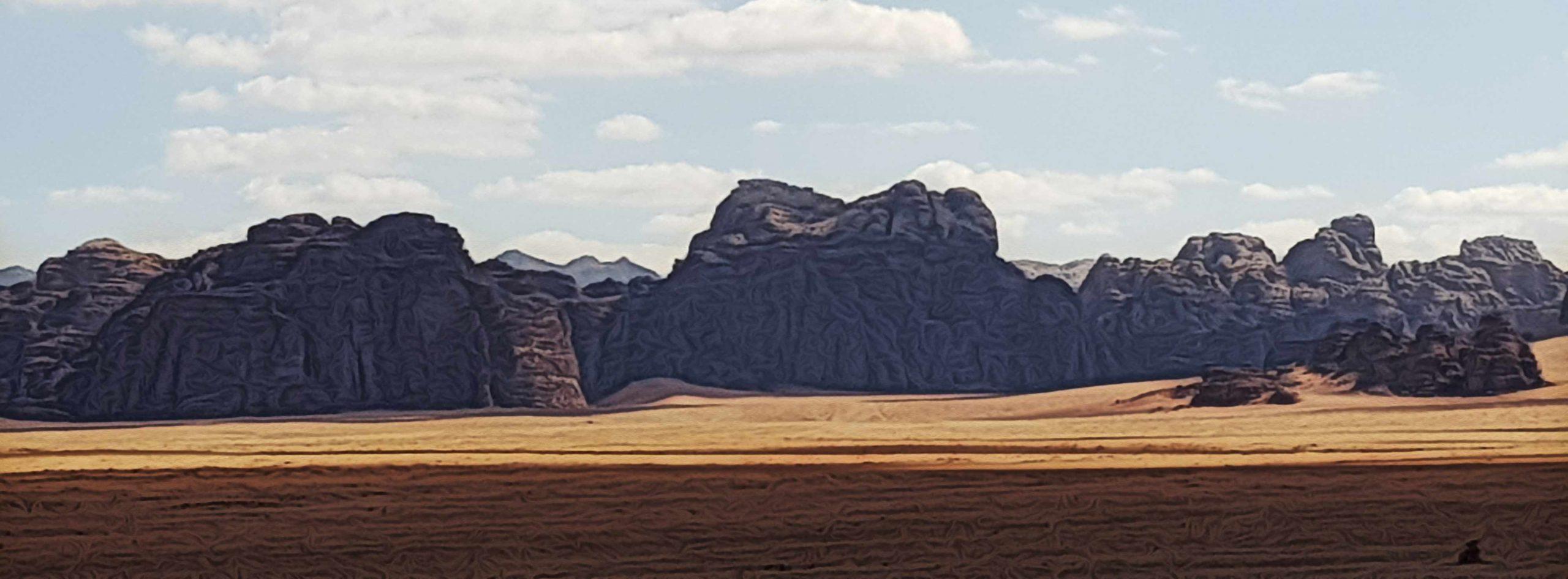 Experiencia de viaje a Jordania de Yolanda y Javier - Una foto panorámica de Wadi Rum